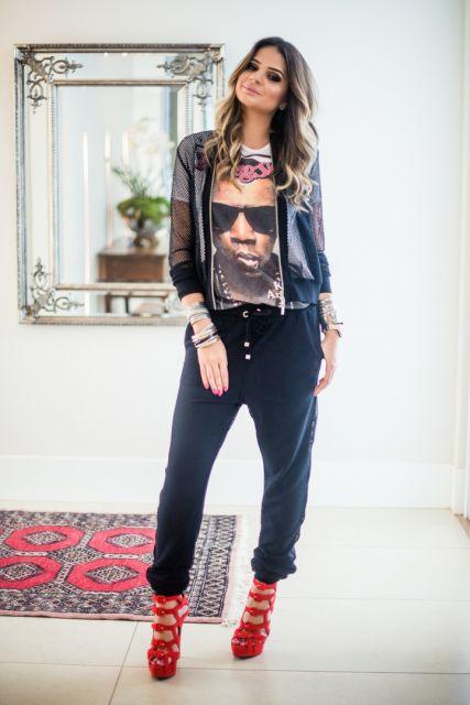 calça pijama preta thássia naves
