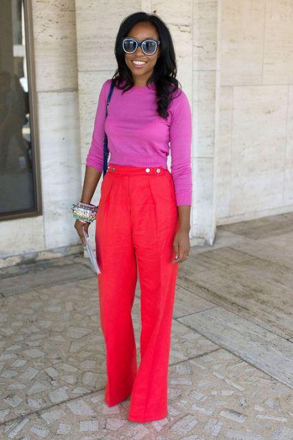 calça colorida color block