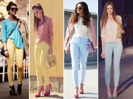 calças coloridas cores pasteis