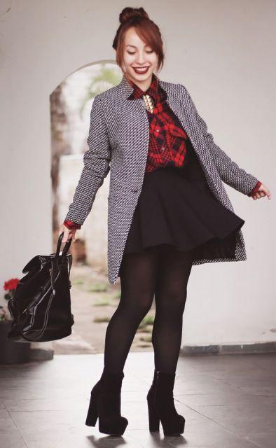 camisa xadrez feminina com blazer quente