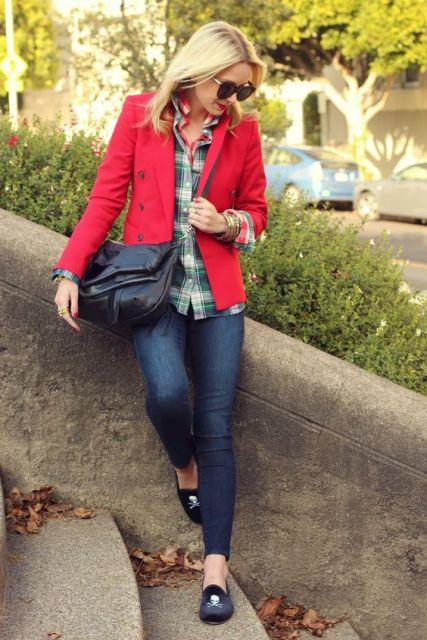 camisa xadrez feminina com blazer