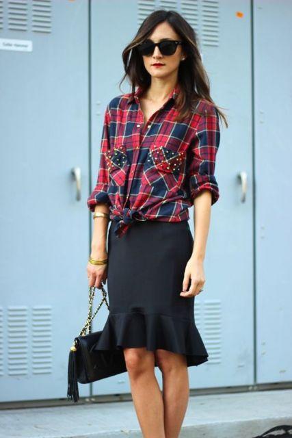 camisa xadrez feminina com saia midi
