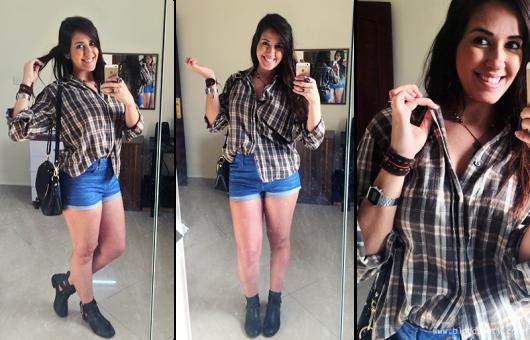 camisa xadrez feminina com short jeans
