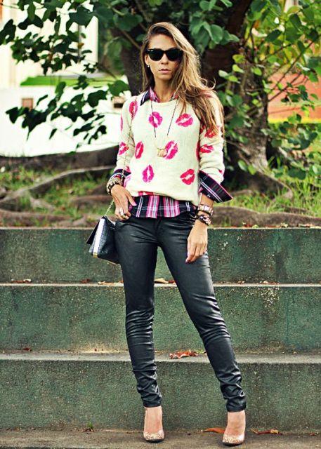 camisa xadrez feminina - com suéteres