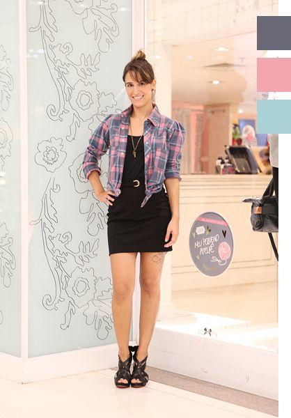 camisa xadrez feminina terceira peça com vestido