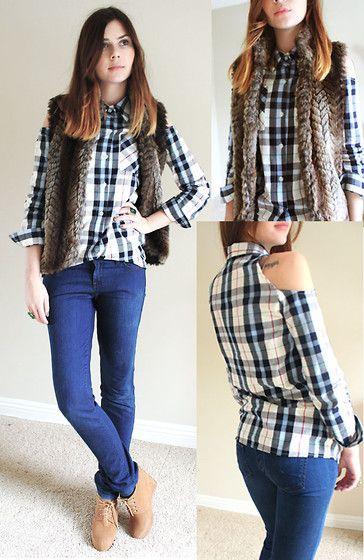 camisa xadrez feminina usada com calça e colete