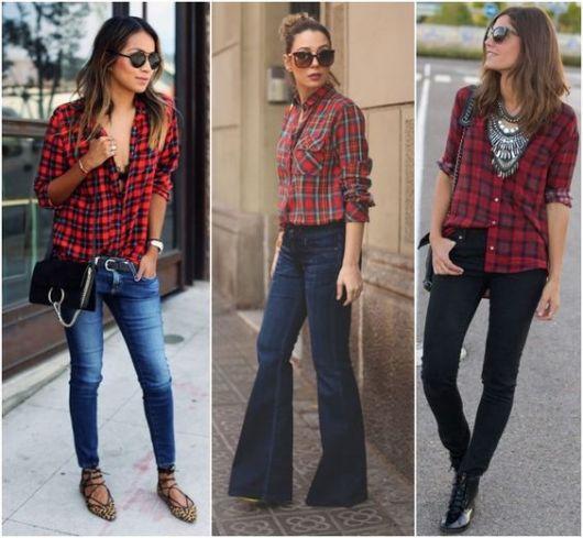 camisa xadrez feminina usada com calças variadas