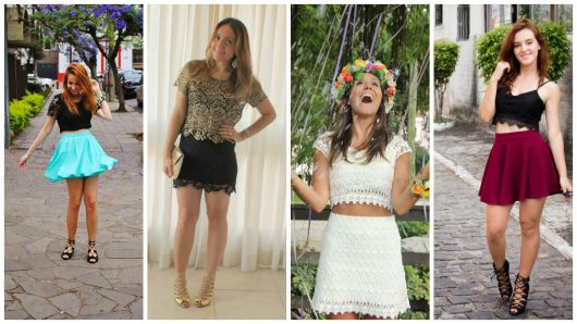 looks com saia curta