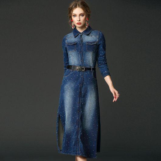 vestido jeans longo com cinto