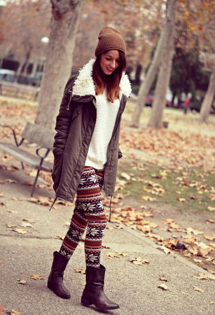 legging estampada étnica na moda inverno