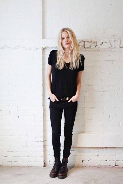 exemplo de looks com calça jeans preta