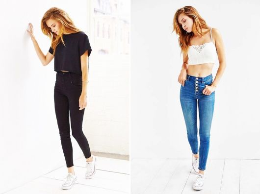 exemplo de looks com calça jeans de cintura alta
