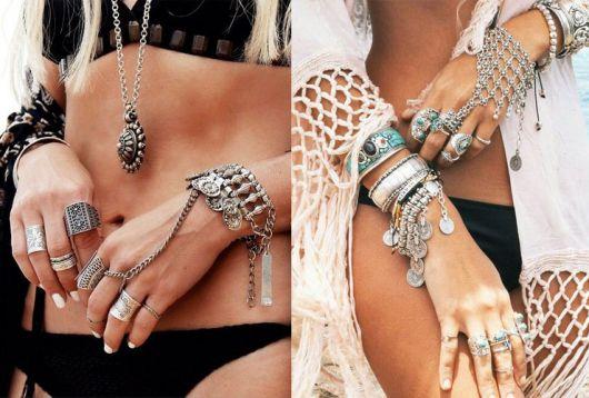 mix de pulseiras na moda praia