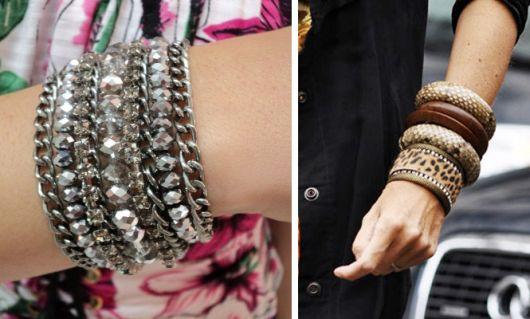 moda de mix de pulseiras