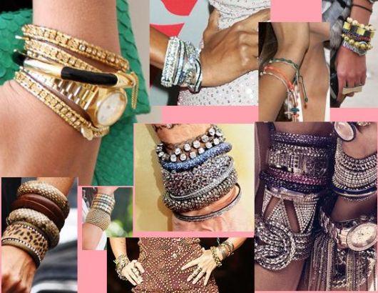 tendências de acessórios mix de pulseiras