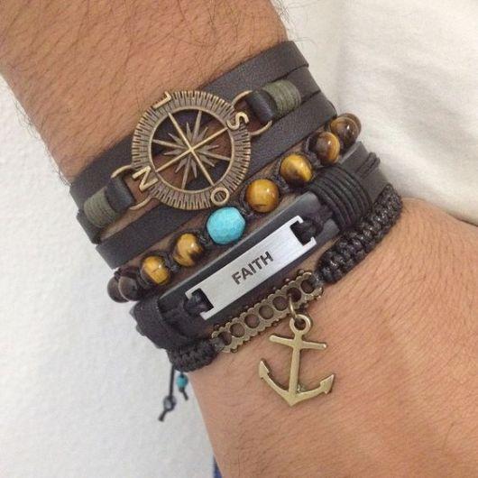 pulseiras da moda de couro
