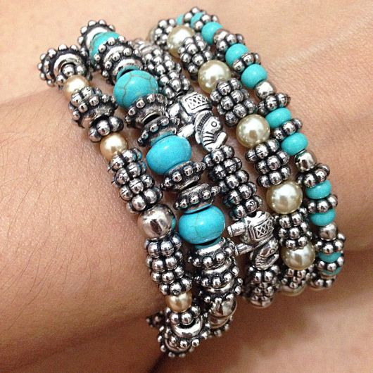pulseiras da moda miçangas e pérolas