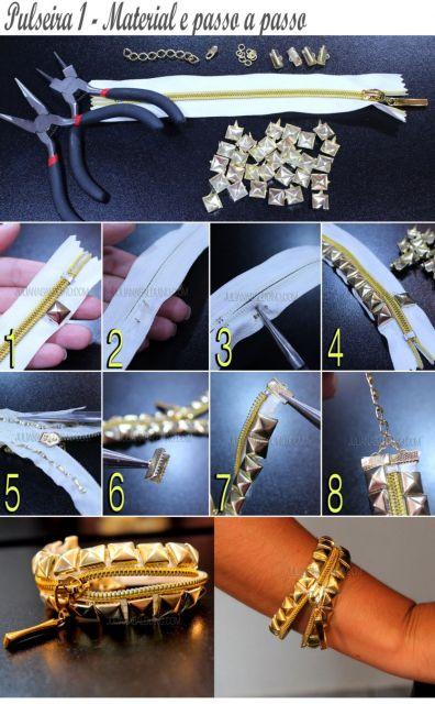 pulseiras da moda spikes e zíper