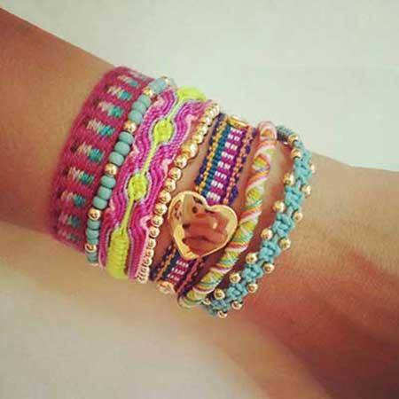 pulseiras da moda tecido macramé