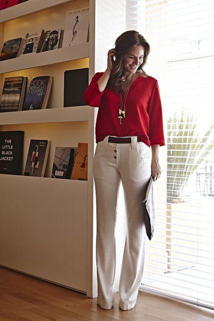 roupa social feminina calça branca