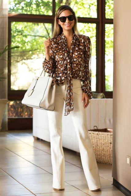roupa social feminina camisa animal print