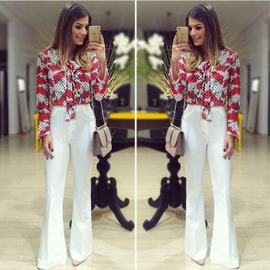 roupa social feminina camisa com laço