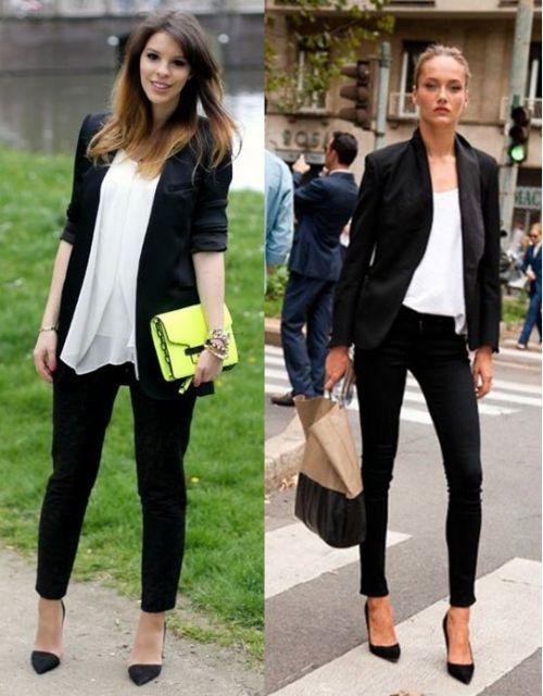 roupa social feminina com blazer p&b