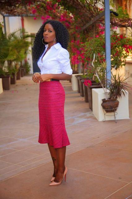roupa social feminina ]com saia rosa