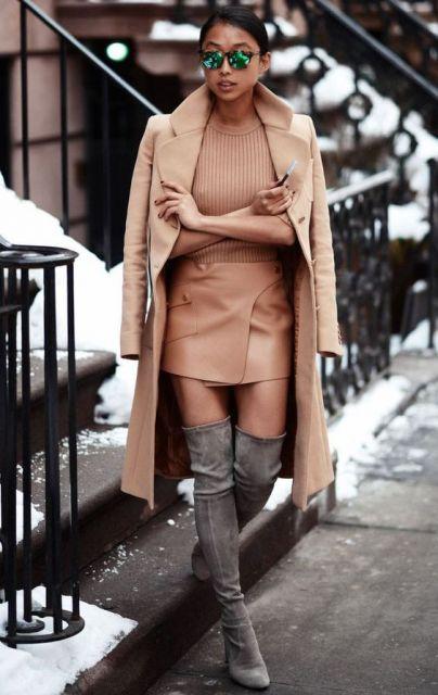 saia de couro inverno