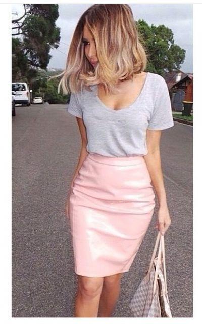 saia de couro justa pink