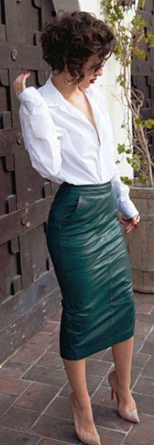 saia de couro justa verde