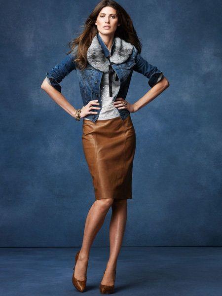 saia de couro marrom jaqueta
