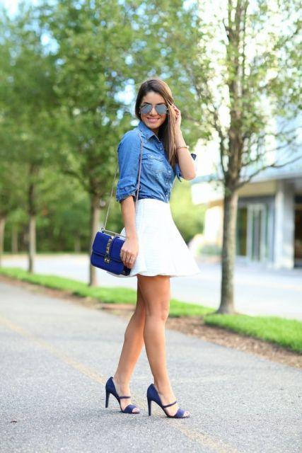 bolsa azul look