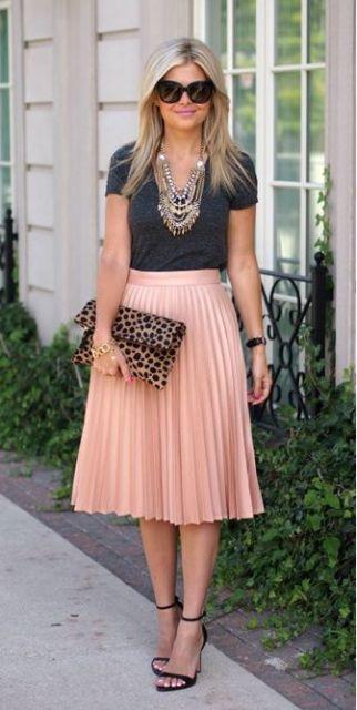 saia plissada rosa