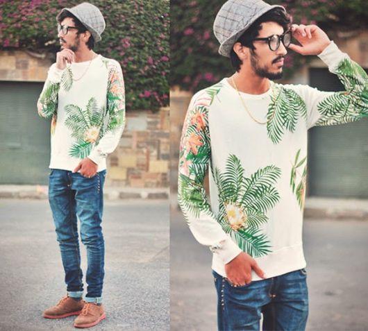 suéter masculino estampado lazer
