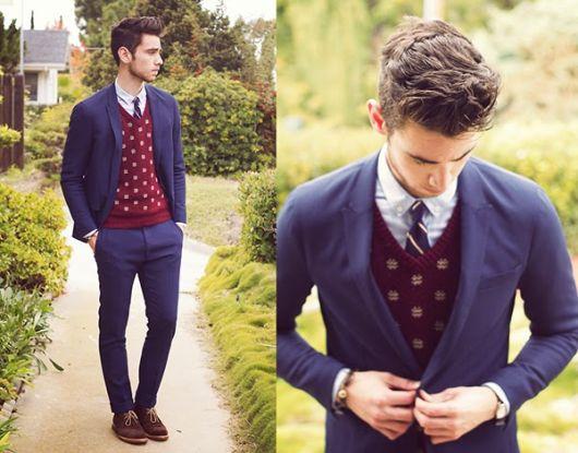 suéter masculino formal com gravata