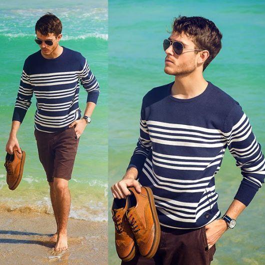 suéter masculino listras bermuda casual