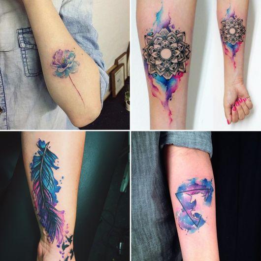 exemplo de tatuagens femininas no braço aquarela