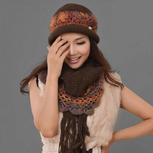 Touca   Gorro de tricô feminino - modelos d5e47e39753