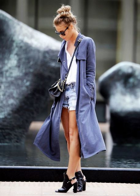 trench coat com shorts