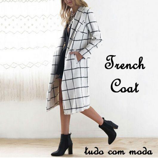 trench coat - xadrez branco