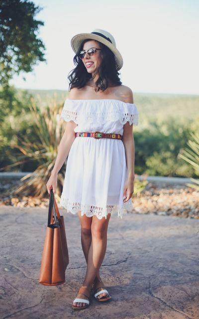 vestido branco com chapeu