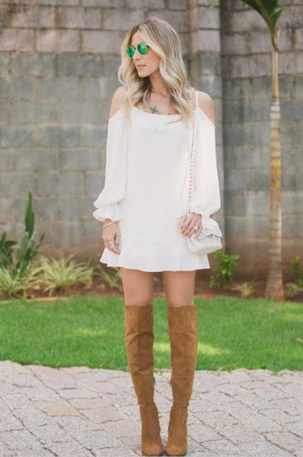 vestido branco manga longa