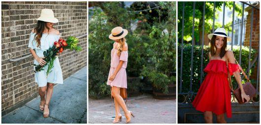 vestido com chapeu de palha
