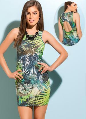 vestido com decote nas costas estampa plantas
