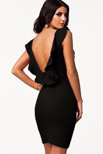 vestido com decote nas costas tubinho preto