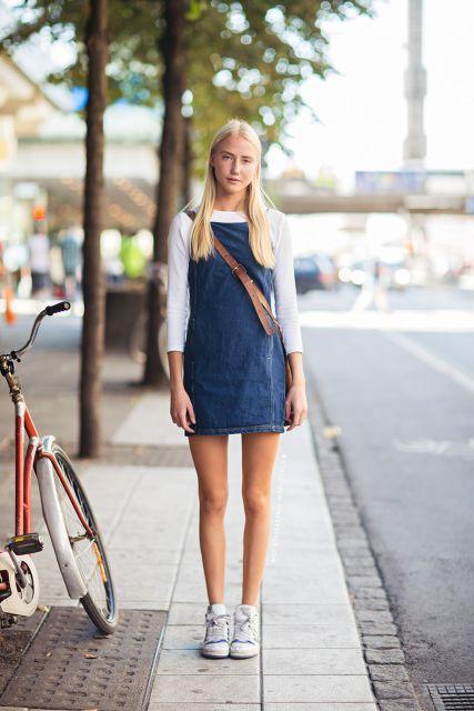vestido com tênis look teen