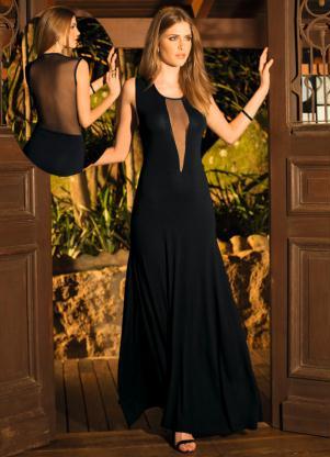 vestidos com transparência longos com decote