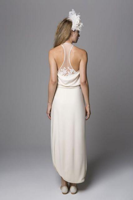 vestido com tule nas costas - branco