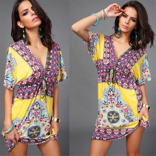 vestido hippie amarela